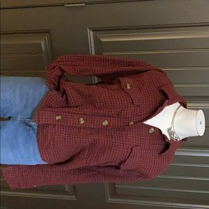 American Eagle Maroon Cropped Flannel